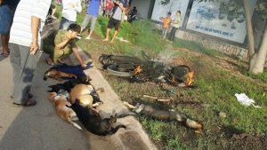Chiếc xe bị người dân đốt cùng đàn chó bị 2 đối tượng trộm cắp tại hiện trường