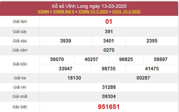 Soi cầu VIP Vĩnh Long 20/3/2020 - KQXSVL hôm nay