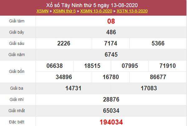 Soi cầu XSTN 20/8/2020 chốt lô VIP Tây Ninh thứ 5